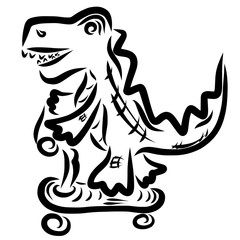 Crocodile is riding a scooter, leisure and sports