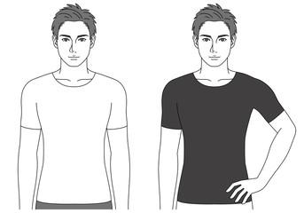 シャツを着た男性(2ポーズ)