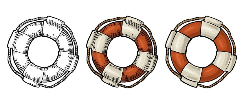 Lifebuoy with rope isolated on white background. Vector vintage engraving
