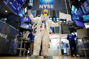 "The MTV ""Moon Person"" walks on the floor at the NYSE to celebrate 2018 MTV Video Music Award's in New York"