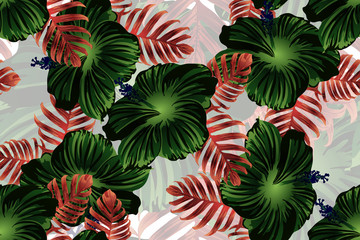 Hawaiian tropic jungle endless print.