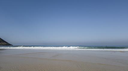 Itacoatiara beach, downview, international surfer beach, where nature, sea and mountains are permanent attraction in Niterói, Rio de Janeiro.