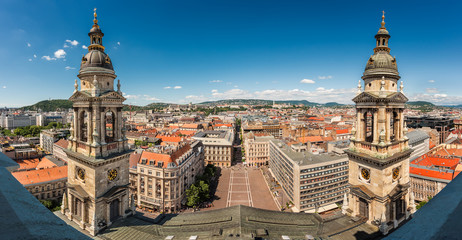 Aerial view of Budapest and St Stephen's Square, Hungary