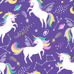 Hand drawn seamless vector pattern with cute unicorns, stars and planet. Repetitive wallpaper on purple background. Perfect for fabric, wallpaper, wrapping paper or nursery decor.