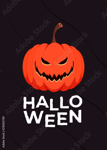 happy halloween logo vector lettering with decor element for print