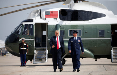 U.S. President Trump waves as he departs for events in New York and weekend in New Jersey leaving Joint Base Andrews, Maryland