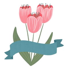Tulips and a Banner