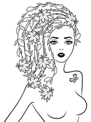 Graceful lady with floral hair