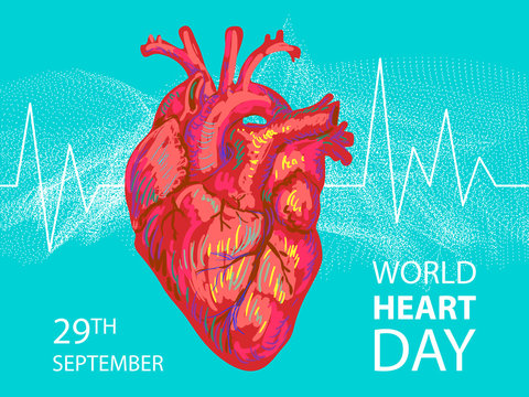 World heart day. Red heart design. Health care concept. Vector illustration. Medical awareness day concept. World Heart Day background