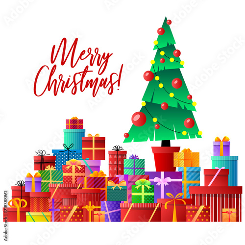 merry christmas christmas tree gifts xmas celebration decorated christmas tree with gift