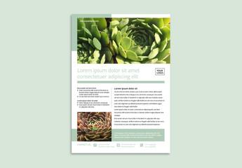 Business Flyer Layout with Green Photo Overlays
