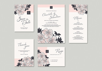 Wedding Invitation Set with Hand-Drawn Floral Elements