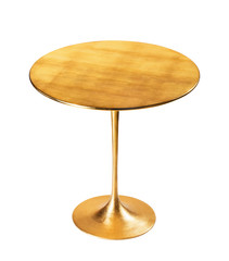 Elegant golden coffee table isolated on white background. Clipping path..