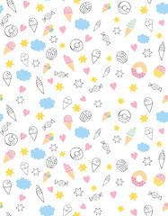 Cute Hand Drawn Sweets Vectorn Pattern. Candies, Ice Creams, Muffins, Donuts. White Background. Pink Hearts and Yellow Stars. Infantile Style Design.