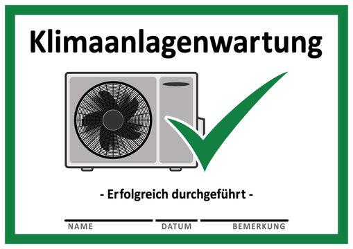 csng1 CheckSignNewGreen csng - Klimaanlagenwartung - Erfolgreich durchgeführt - gz153 GrafikZeichnung - Vordruck mit freiem Texfeld - Vorlage - (green check mark) DIN A4 A5 A6 - grün xxl g6514