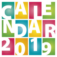 Calendar 2019 rectangle color letters white background