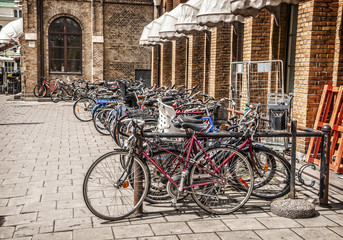 bicycle parking on a parking lot