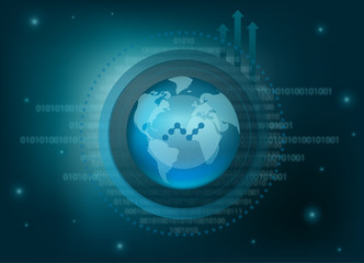 Nano Cryptocurrency Coin Global Binary Background
