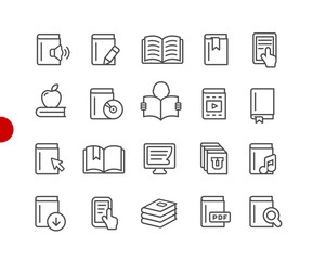 Book Icons // Red Point Series - Vector line icons for your digital or print projects.