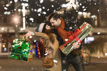 christmas love market couple