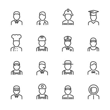 Vector image set of profession line icons.