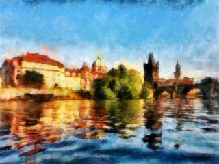 Oil painting. Art print for wall decor. Acrylic artwork. Big size poster. Watercolor drawing. Modern style fine art. Czech Republic. Prague. Wonderful cityscape. Charles Bridge. Historical part.