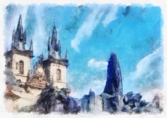 Oil painting. Art print for wall decor. Acrylic artwork. Big size poster. Watercolor drawing. Modern style fine art. Czech Republic. Prague. Wonderful cityscape. Medieval historical Cathedral.
