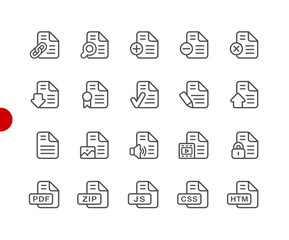 Documents Icons - Set 1 of 2 // Red Point Series - Vector line icons for your digital or print projects.