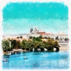Oil painting. Art print for wall decor. Acrylic artwork. Big size poster. Watercolor drawing. Modern style fine art. Charles Bridge. Historical part. Czech Republic. Prague. Wonderful cityscape.
