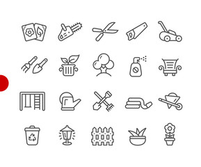 Garden and Gardening Icons // Red Point Series - Vector line icons for your digital or print projects.