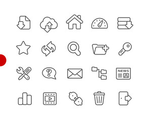 FTP and Hosting Icons // Red Point Series - Vector line icons for your digital or print projects.