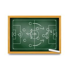 Soccer formation tactics and strategy on a blackboard. Spielplan - Fußballtaktik. Tactiques de football.