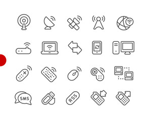 Wireless Icons // Red Point Series - Vector line icons for your digital or print projects.