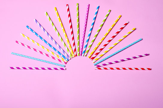Colorful drink straws for background