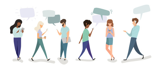 hand drawn vector illustration- set of people are using mobile devices
