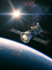 Fotobehang - Russian Spacecraft In The Rays Of Light