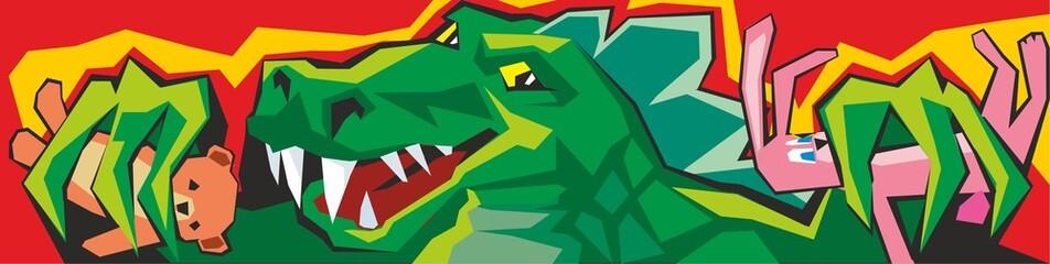 Cartoon Godzilla. Vector illustration for Claw Machine