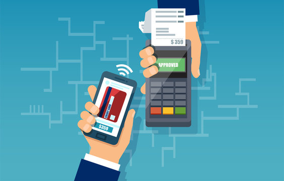 Mobile payment web banner concept. Paying with NFC technology on smartphone