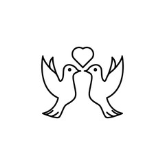 pigeons and heart icon. Element of wedding for mobile concept and web apps illustration. Thin line icon for website design and development, app development. Premium icon