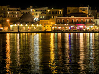 Chania City Night Skyline, Crete Island, Greece