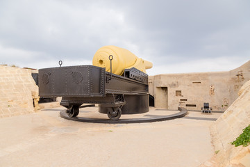 Kalkara, Malta. The 100-ton Armstrong gun at Fort Rinella is one of the world's largest muzzle-loading guns, 1879-1884.