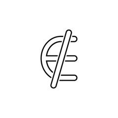 Euro ban denomination icon. Thin line  icon for website design and development, app development. Premium icon