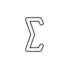 sigma sign icon. Thin line  icon for website design and development, app development. Premium icon