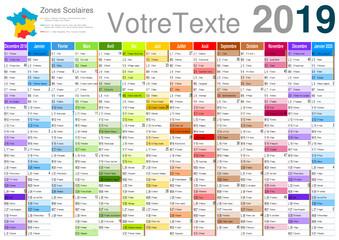 vacances 2020 officielles Calendrier 2019 sur 14 mois MODIFIABLE avec texte non vectorisés / Calendrier scolaire complet, semaine