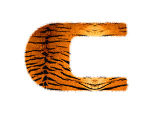 Furry text letter made of tiger skin texture. Character render isolated on white.