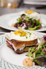 A sandwich with a side of salad and an egg on-top.