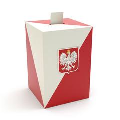 Wybory - urna wyborcza na białym tle