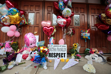 A memorial in memory of singer Aretha Franklin is seen outside New Bethel Baptist Church in Detroit