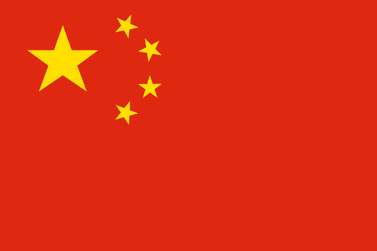 China national flag. Official colors. Correct proportion. Vector