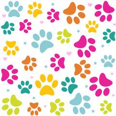 Seamless animal pattern of paw footprint